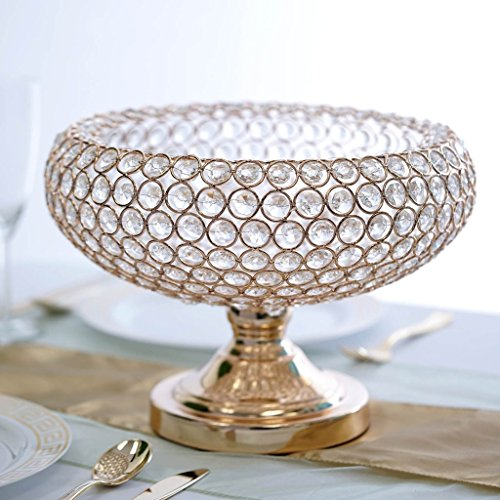 Efavormart 2 Pack 300 Acrylic Crystal beaded 9'' Gold Tabletop Candle Holder Bowl Flower Vase Event Centerpiece by Efavormart.com