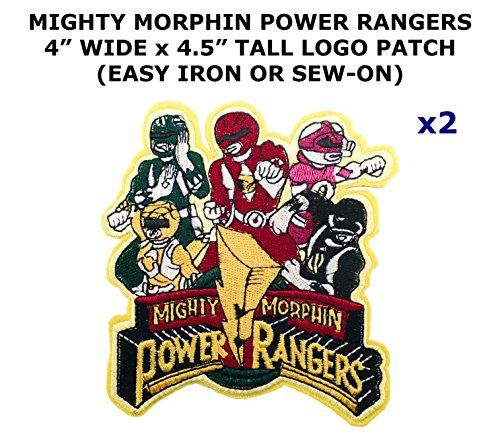 2 PCS Mighty Morphin Power Rangers TV Show Theme DIY Iron / Sew-on Decorative Applique - Power Costume Rangers Diy