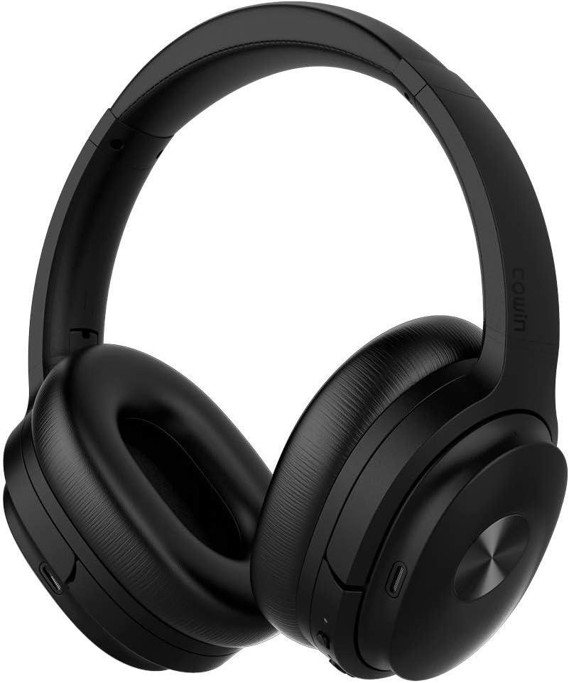 Cowin SE7 Auriculares inalámbricos Bluetooth con micrófono Hi-Fi de Graves Profundos, (Hi-Res Audio, cancelación de Ruido, Bluetooth,30 Horas de autonomía) (Negro)