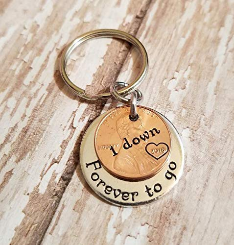 1 Year Down and Forever To Go 1st Anniversary Coin Key Chain Lucky 2018 Copper Penny (Sentimental Gift For Boyfriend One Year Anniversary)