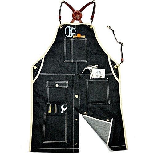 Lqchl Black Denim Bib Apron W/Leather X Strap Barber Barista Florist Cafe Bar Chef Uniform Carpenter Tattoo Shop Wood Workwear,M by Lqchl (Image #6)