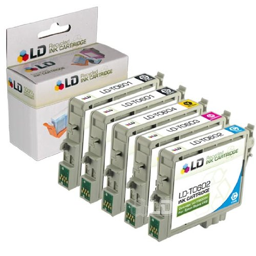 LD Products Remanufactured Ink Cartridge Replacement for Epson T060120 ( Black,Cyan,Magenta,Yellow , 5-Pack )