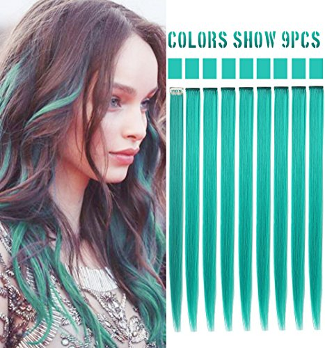 Rhyme 20'' 9PCS Princess Party Highlight Teal Hair Pieces Colored Hair Extensions Clip in/On for America Girls and Kids Wig Pieces for Dolls -