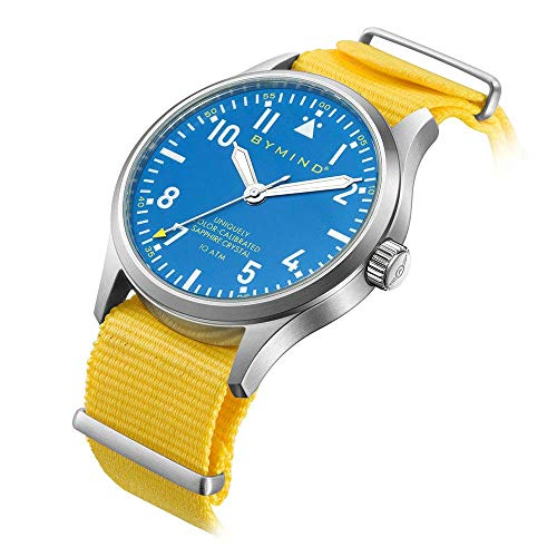 Water Resistant Sapphire Crystal Watch - 42mm Men's Stainless Steel Quartz Watch Sapphire Crystal 100 Meters Water Resistant (Sandbeach Yellow Nylon NATO Strap)