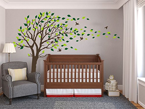 Large Tree Blowing in the Wind Tree Wall Decals Wall Sticker Vinyl Art Kids Rooms Teen Girls Boys Wallpaper Murals Sticker Wall Stickers Nursery Decor Nursery Decals (Dark Brown)