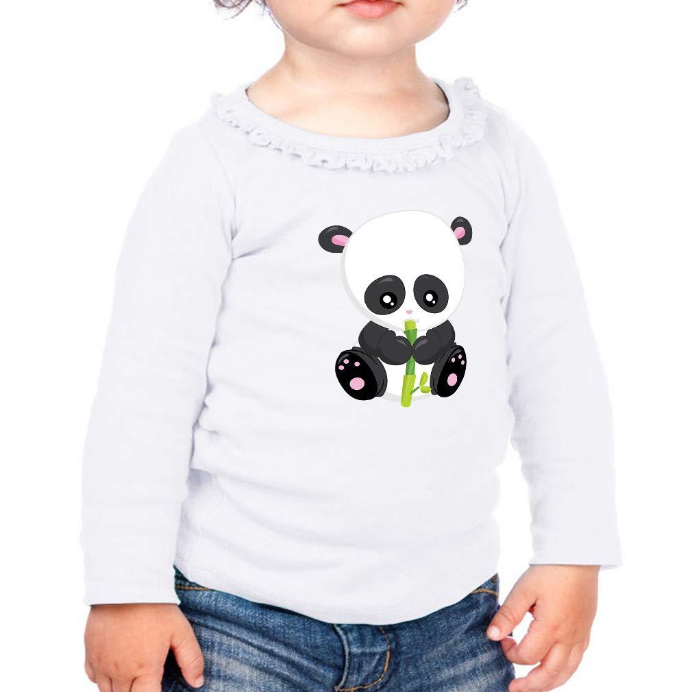 Panda Baby Sits Bamboo Cotton Girl Toddler Long Sleeve Ruffle Shirt Top