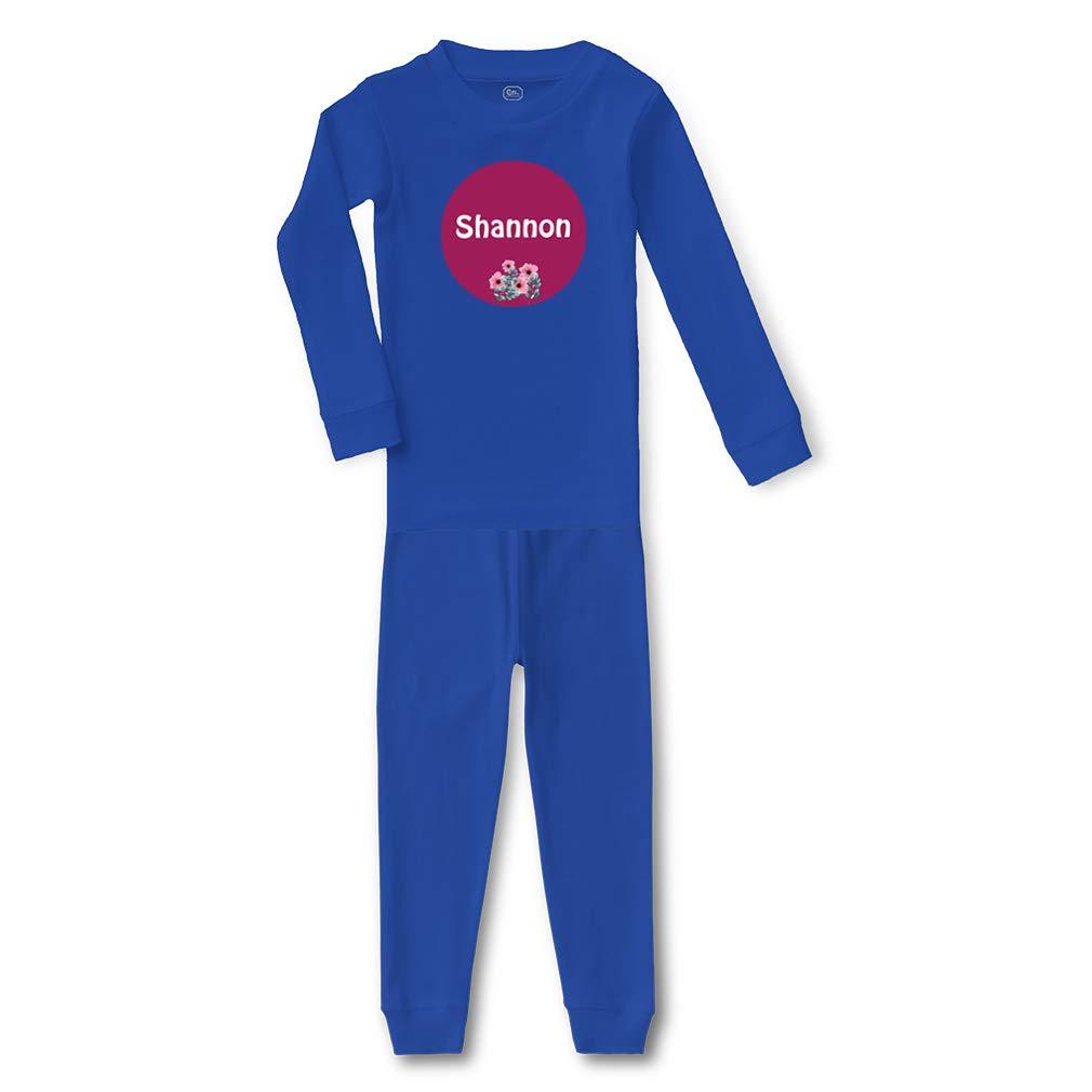 Personalized Custom Girly Name Flowers Cotton Sleepwear Pajama 2 Pcs Set