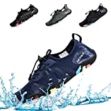 hiitave Mens Womens Aqua Beach Water Shoes Quick Dry Barefoot Swim Socks for Surf Pool River Walking Diving Water Sports Navy Blue W11/M9 .5