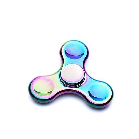 Zegoo Hand Spinner Rainbow Titanium Alloy Colorful Tri Finger High Speed Fidget Toys Stress