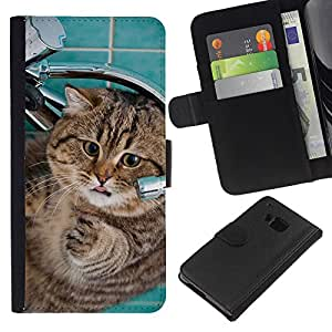 Stuss Case / Funda Carcasa PU de Cuero - Fat House Cat American Shorthair Funny - HTC One M9