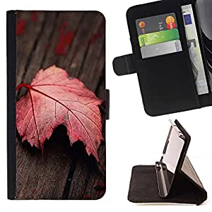 For LG G2 D800 Red Leaf Beautiful Print Wallet Leather Case Cover With Credit Card Slots And Stand Function