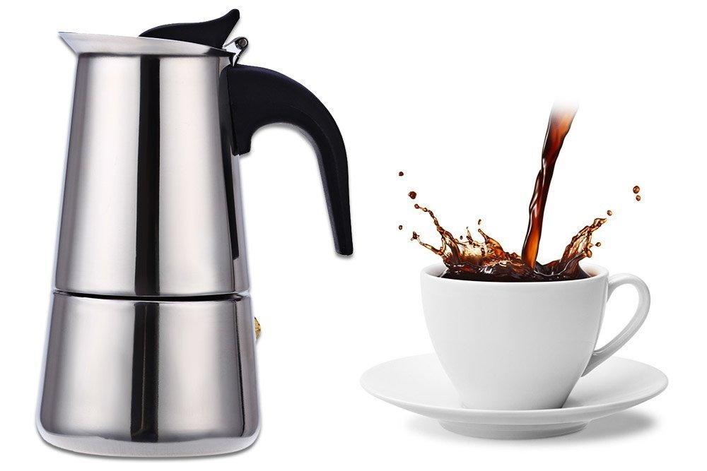 Stainless Steel Moka Coffee Maker Mocha Espresso Latte Stovetop Filter Coffee Pot Percolator Tools Easy Clean for Home Office (450ML)