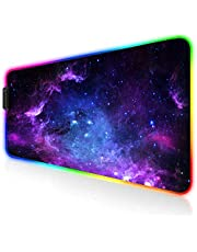 Large Gaming Mouse Pad RGB - AILRINNI Extended Glowing Led Keyboard Mouse Mat, Non-Slip Rubber Base Mousepad for Gaming Surface/Office - Galaxy