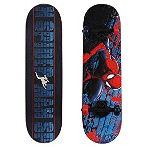 PlayWheels Ultimate Spider-Man 28 Inch Complete Skateboard – Beginner Trick Skateboard for Kids – Spider-Crawl