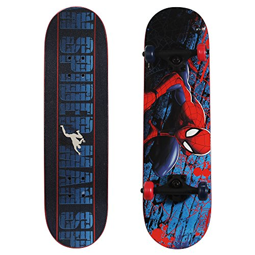 PlayWheels Ultimate Spider-Man 28 Inch Complete Skateboard - Beginner Trick Skateboard for Kids - Spider-Crawl (Best Skateboard Wheels For Beginners)