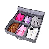Bamboo Charcoal Non-woven Fabric Foldable Underbed Shoe Organizers Storage Boxes for 3-6 pairs Shoes