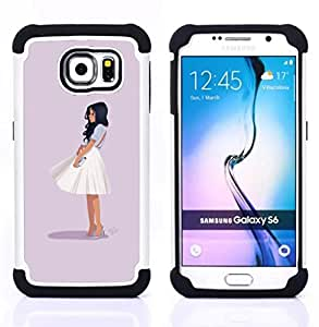BullDog Case - FOR/Samsung Galaxy S6 G9200 / - / GLAMOROUS CHIC GIRL OUTFIT FASHION SKIRT WHITE /- H??brido Heavy Duty caja del tel??fono protector din??mico - silicona suave