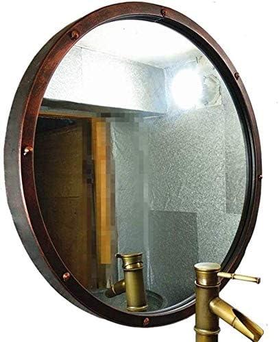 日用品 工業用スタイル円形ハンギングバニティミラー大型メタルフレームラウンドメイクアップ化粧鏡(サイズ:80センチメートル) (Size : 80cm)
