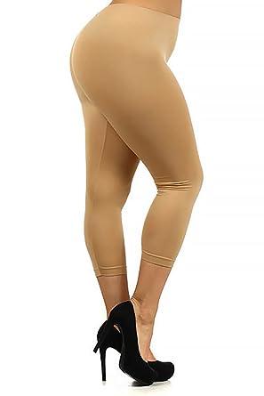 World of Leggings PLUS SIZE Premium Basic Nylon Spandex Capris ...