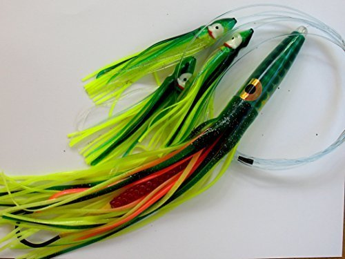 12 Green Machine Type Lemon Lime Daisy Chain Saltwater Fishing Lure Tuna Mahi Wahoo Marlin by Ancient Mariner Tackle