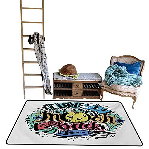 Decorative Floor mat,Grunge Valentines Colorful Composition Rocket Figure Declaration of Love Phrase 48