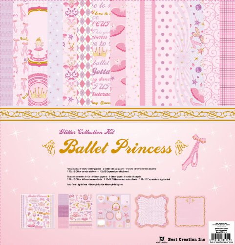Best Creation 12 by 12-Inch 11 Page Glitter Collection Kit with Stickers and Chipboard, Ballet Princess (Princess Page Kit)