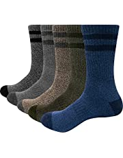 YUEDGE 5 Pairs Men's Athletic Socks Breathable Wicking Warm Cotton Cushion Crew Work Boot Socks Sports Trekking Hiking Socks