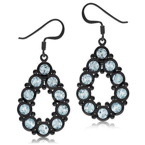 - 6ct. Genuine Blue Topaz Black Rhodium Plated 925 Sterling Silver Drop Dangle Hook Earrings