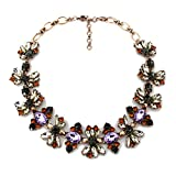 Cyber Week Deals Crystal Statement Necklace Vintage Multicolor Bib Collar Necklace For Women Costume