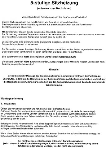 Opel Adam Profi Carbon Sitzheizung Heiz Auflage Kissen Nachrüsten 5 stufig z.B