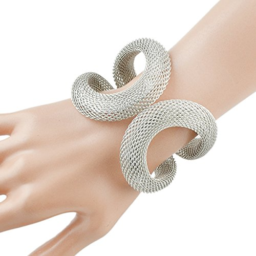 Elegant Silver Tone Cuff Bracelet   With Hinge For Easy Fit