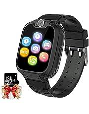 Smartwatch barn telefon – spel musik barn smart klocka [1 GB micro SD ingår] med samtal kamera spel väckarklocka musikspelare för pojkar flickor 3–12 (svart)
