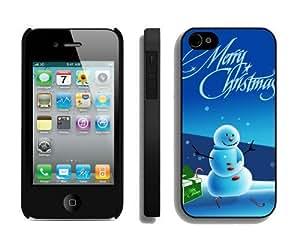 Customization Christmas snowman iPhone 4 4S Case 19 Black