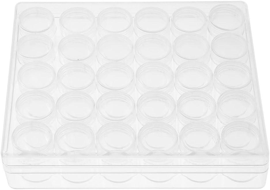 Fdit Envases Transparentes Redondos Tarros Pequeños Rectángulo Caja de Almacenamiento Plástico para Joyería Pendientes de Cuentas Anillos (30 Unidades)