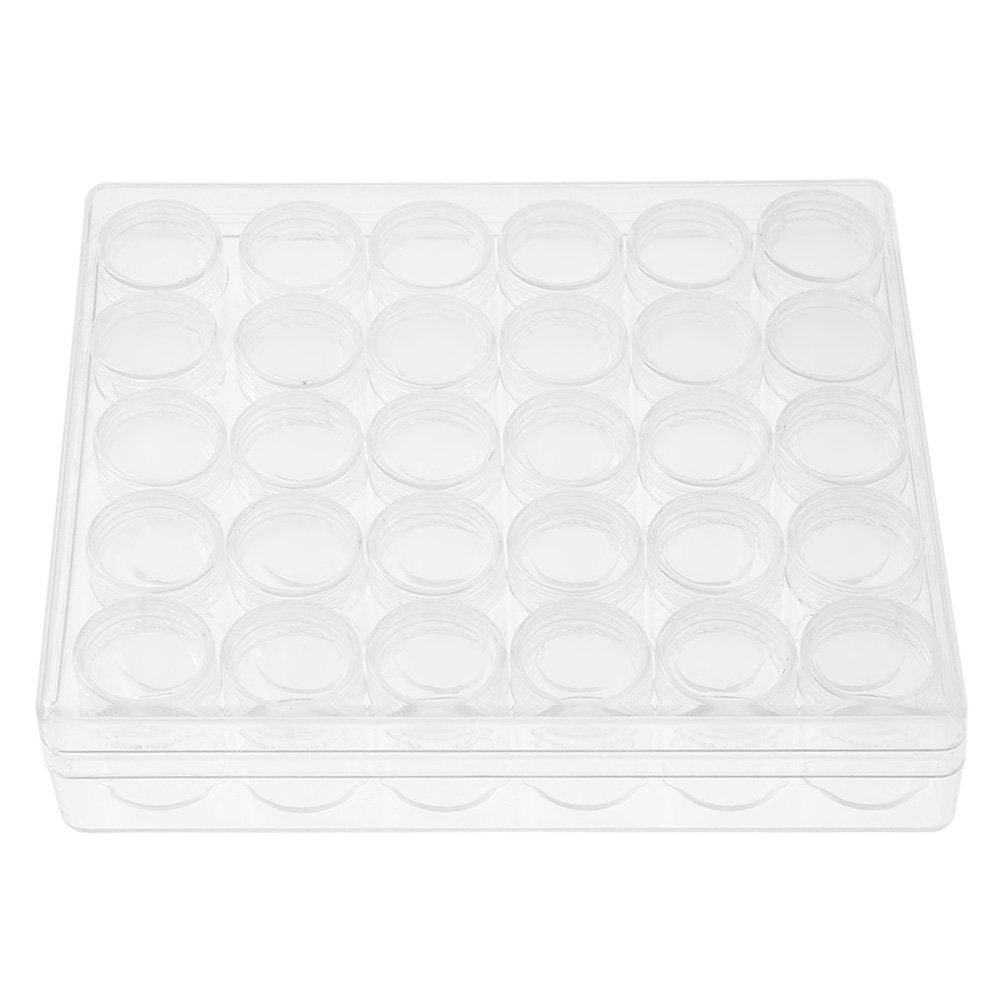 Jewelry Beads Organizer Box Storage Container Case with 30 Storage Jars, Clear Bead Storage Container with Removable Dividers, 30 Pcs Walfront