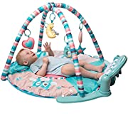 Tapiona Large Baby Play Mat - Kick And Play Piano Gym - Newborn Gift Baby Girl And Boy Gym for 1 - 36 Month (0 - 3 years) - 5 Activity Toys, Piano, Flashing Moon, Cushion