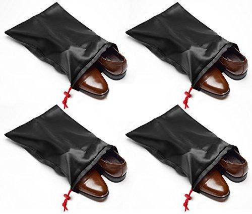 Tuff Guy Travel Shoe Bags with Drawstring (Black) -Set of 4 Soft Nylon Shoe Tote BagsTravel Shoe (18 x 14)