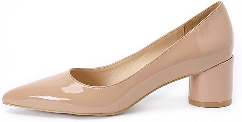 Darco & Gianni Womens Mid Block Heel Black Leather Pointed Toe Pumps Shoes Ladies Slip on Office Work Evening Dress...