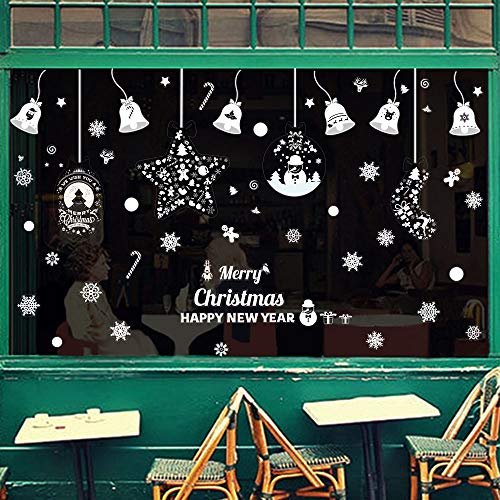 Omgouue 248pcs Christmas White Snowflakes Window Clings Decal Stickers - Xmas Holiday Christmas Winter Wonderland Decorations Ornaments Party Supplies (8 Sheets)