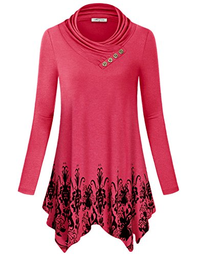 Boho Blouses for Women, SeSe Code Juniors Chic Floral Swing Tops Plus Size Long Sleeve Sweatshirt Cotton Casual Wear Loose Hispter Thermal Curvy Utility Cozy Casual Long Tunic Shirt Stylish Red Xl