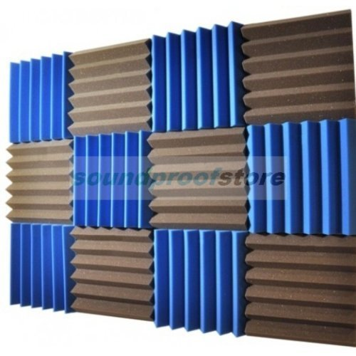 2x12x12 (12 Pack) BLUE/CHARCOAL Acoustic Wedge Soundproofing Studio Foam Tiles Soundproof Store Sou-4501