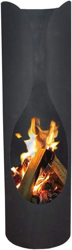 Ben/&Camilla Feuerkorb Gartenkamin Masaya in Schwarzem Stahl 120 x /Ø 35 cm extra robust /& rostfrei Feuerschale Terrassenofen Gartenofen Feuerstelle Feuers/äule Feuerskulptur