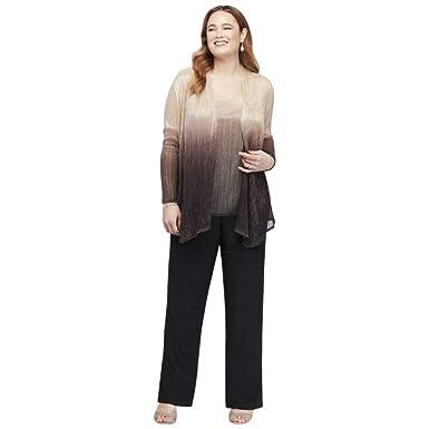 f5925fe170e Amazon.com  David s Bridal Plus Size Crinkled Ombre Pantsuit and Matching  Jacket Style 950136  Clothing
