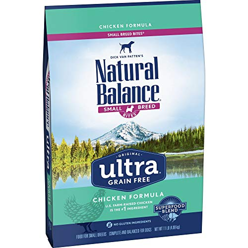 - Natural Balance Original Ultra Grain Free Small Breed Bites Dog Food, Chicken Formula, 11-Pound Bag