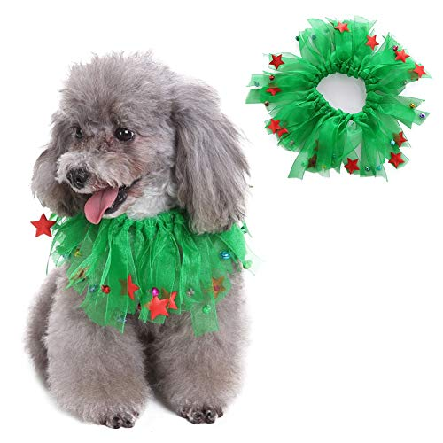 Charming Party Collar - Dora Bridal Dog Bell Charming Party Collar Christmas Smoocher Dog Kissable Bells Pet Party Collar - Christmas Fuzzy Pom Poms Halloween Decorative Dog Collars Bells Green L