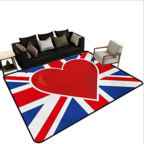 (Household Decorative Floor mat,British Flag with a Big Red Heart in Center Nationality Pride Concept 6'x7',Can be Used for Floor Decoration)