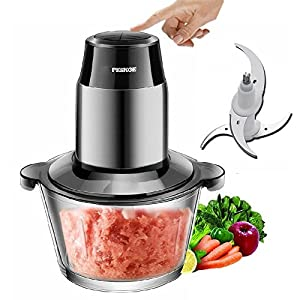 Meat Grinders Electric Food Processor, Multipurpose Smart Kitchen Food Chopper Vegetable Fruit Cutter Onion Slicer Dicer, Blender and Mincer, Glass Bowl 2L Large Capacity (Black)