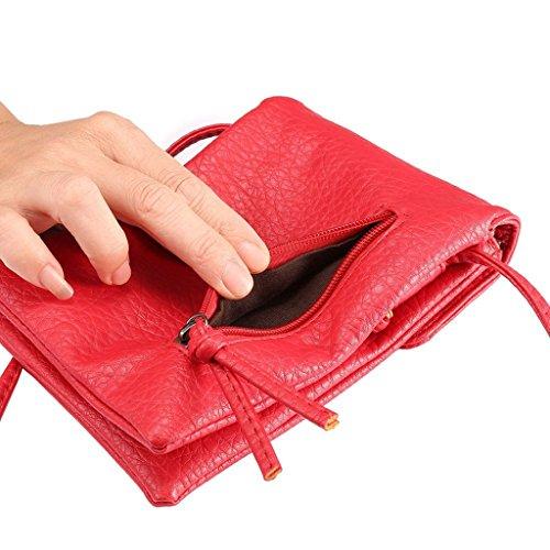 Eagsouni® Femmes Filles PU Cuir Petit Sac Téléphone Bandoulière Mini Pochette Case/Housse/Portefeuille Sac à Main Rouge