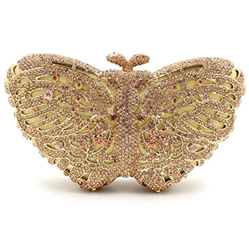 Damen Clutch Abendtasche Handtasche Geldbörse Glitzertasche Strass Kristall Schöne Schmetterling Tasche mit wechselbare Trageketten von Santimon(16 Kolorit) Gelb 02