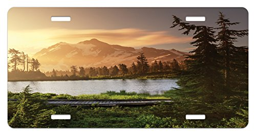Lunarable Landscape License Plate by, Picturesque Lake and Snow Covered Mountain Peaks Peaceful Side of Nature Northwest, High Gloss Aluminum Novelty Plate, 5.88 L X 11.88 W Inches, Green